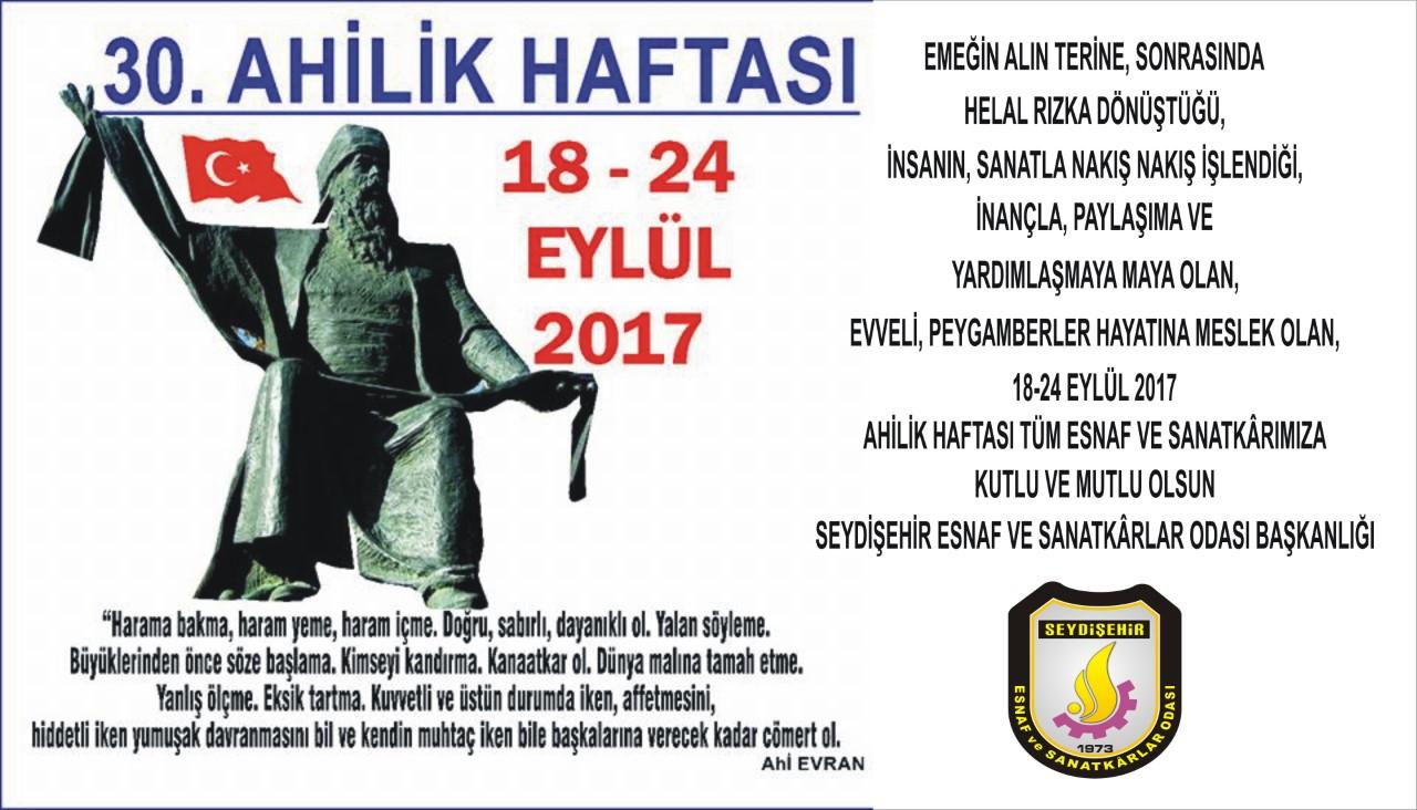 Seydişehir Esnaf ve sanatkarlar Odasından Ahilik Haftası kutlaması….